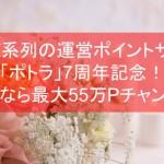 NTTグループの運営ポイントサイト「ポトラ」7周年記念!今なら最大55万Pチャンス