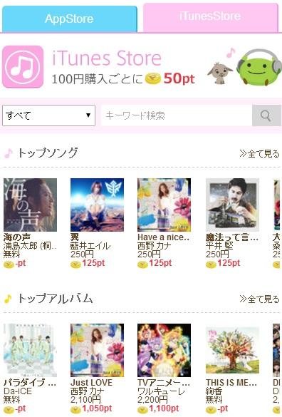 iTunesStoreだと100円毎に50Pお得なげん玉