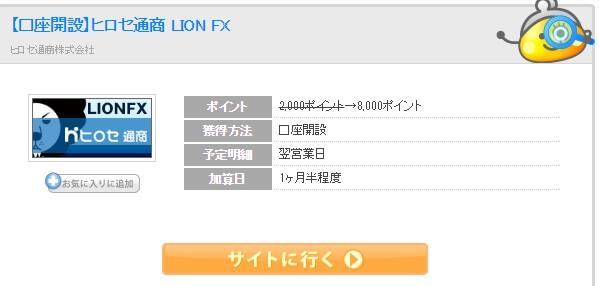 ちょびリッチ経由口座開設ヒロセ通商 LION FX (1)