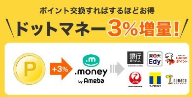 ドットマネー公式提携ポイントサイトで3%増量